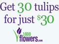 1800Flowers Coupon 30 Tulips for Only $30.